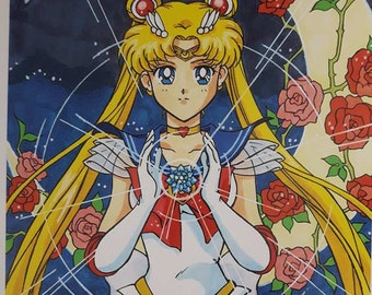 Sailor Moon Print 8.5x11 Silver Crystal Cardstock Paper Crescent Lion Art