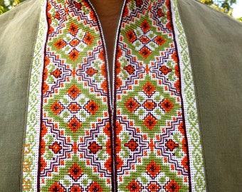 Ukrainian mens gift etsy ukrainian handembroidered green beige men shirt cross stitch birthday gift boyfriend gift husband wedding gift easter negle Choice Image