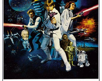 "Vintage Star Wars Movie Poster 1977 Carrie Fischer Harrison Ford Star Wars Print 10"" x 16"" Classic George Lucas Film  SKU:Z3102"