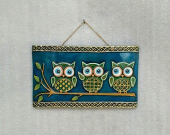 Embossed Ceramic Wall Hanging Art,three owls, decorative,