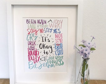 It's Okay To print, colorful, quote