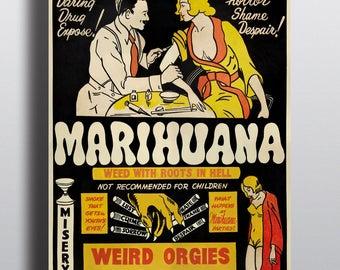 Marihuana, Funny Anti-Marijuanna Poster - Vintage Cannabis Poster Print
