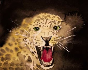 Leopard, watercolor art print