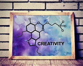 watercolor splash, chemical compound, digital art, wall decor