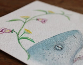 Shark Watercolour//Flower Wreath//Shark Art//Boho Decor//Wall Art//