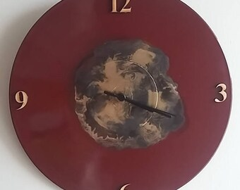 Upcycled Clock - Red, Gold, Black