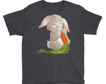 Easter Bunny with Carrots Youth Short Sleeve T-Shirt
