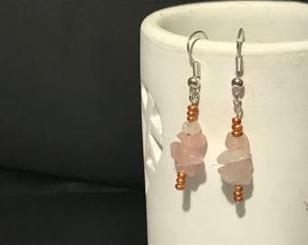 Quartz chip and rose gold delicate earrings