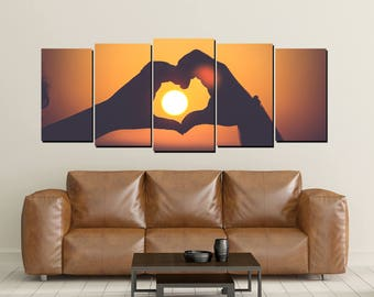 Hands Heart Love Sign Canvas Wall Art, Sunset Background Print  Large 5 Panel Canvas Heart Shape