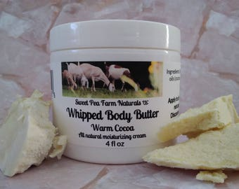 Essential Oil Whipped Body Butter-Warm Cocoa-All natural with cocoa butter