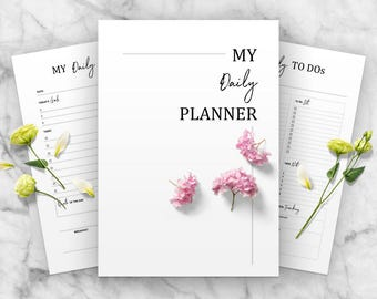 Printable Daily Planner Template, Printable Inserts, Personal Planner, To Do Lists, A4, Letter Size Design, Modern, PDF Daily Organizer