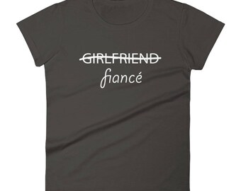 Women's Just Engaged Getting Married Fiance Shirt Funny but Cute Wedding Engagement Gift Short-Sleeve T-Shirt