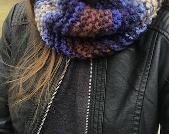 Blue/Brown/Cream Multi Color Knit Cowl