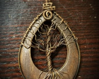 Copper wire wrapped tree of life pendant