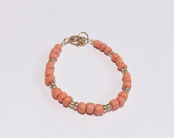 Coral and Gold Baby Bracelet/Accessory