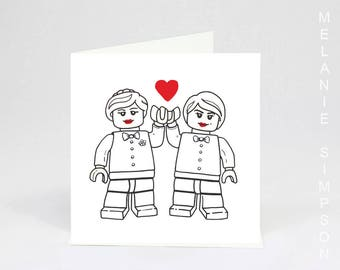 Lego Brides coloring in wedding art card on archival cotton
