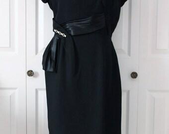 1950s Black Satin Sash Dress Large