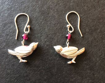 Garnet Sparrow Bird Hallmarked Sterling Silver Earrings