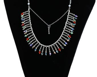 MarcyTreasure Handmade Multicolor Pewter and Crystal Chain Necklace.