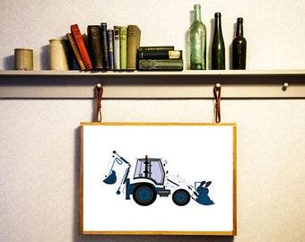 Backhoe loader digital Loader print Excavator decor Digger wall art Clipart decor Nursery decor Birthday digital Instant download Kid poster