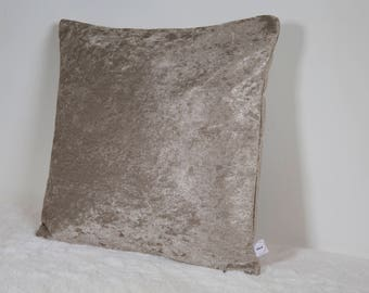 """Champagne Duck Feather Filled Crushed Velvet 16"""" Cushion"""