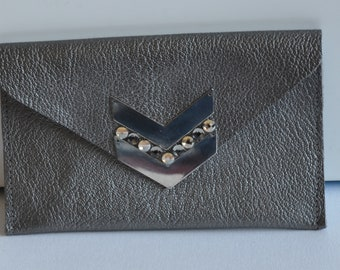 dark grey leather wallet with rafters