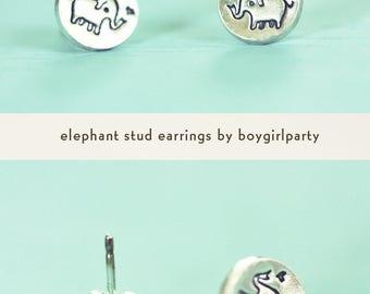 dainty earrings / ELEPHANT EARRINGS, dainty earring studs, sterling silver stud earrings, gift for goddaughter, tiny earring studs, elephant