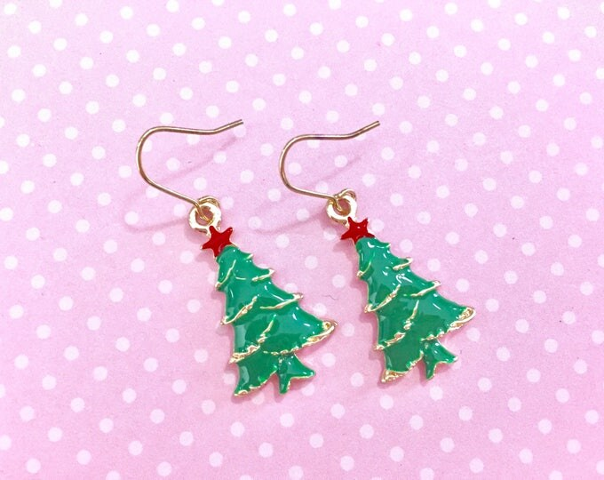 Featured listing image: Shiny Green and Gold Christmas Tree Topped with Red Star Enamel Earrings, Surgical Steel