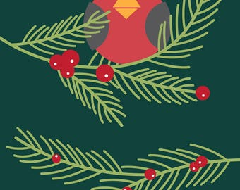 Holiday Card Holly Jolly Evergreen Bird Christmas Card & Greeting Card