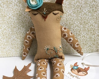 Hand Embroidered woodland animal Deer doll Maple