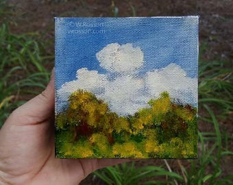 Colorful, Trees, Blue Sky, Clouds, Small Art, Original Painting, Landscape Painting, 4x4, Home Decor, Office, Wall art, Gift, Winjimir