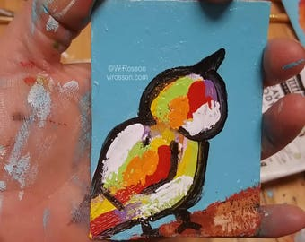 Original Miniature Painting, Bird Painting, Bird Art, Whimsical Bird, ACEO, Art Card, Winjimir, Birds, Fun, Colorful, Gift, Small Painting,