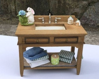 Rustic Bathroom Sink Decorated Cabinet - IGMA Artisan Diane Paone Dollhouse Miniature