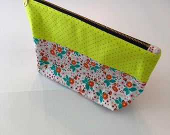Zippered Pouch - Neon Florals