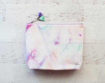 Marble make up bag - pink makeup bag - bridesmaid gift - pink cosmetics bag - purse organizer - marble print bag - bridal shower gift - bag
