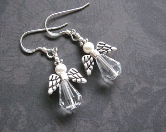 Angel Earrings Sterling Silver Vintage Crystal, Dangle Drops, Swarovski Crystal Pearls, Guardian Angel, Peace on Earth, Christian Jewelry