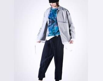 Jacket - Coaches Jacket Grey Geometry with Sheer Edge