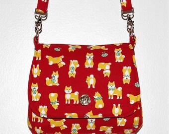Shiba Inu Mini Messenger Bag - Japanese Dogs, Shiba Dogs, Maroon Red, Crossbody Purse, Flap Purse, Kawaii Dogs, Dog Owner Gift, Puppy Dogs