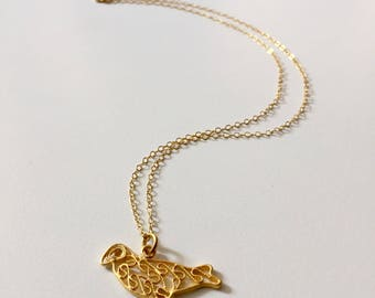 Gold Delicate Bird Charm on 14K Gold-fill Necklace