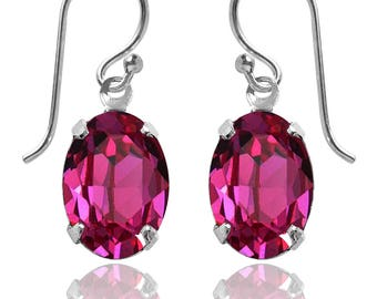 Swarovski Crystal Oval Drop Earrings Sterling Silver Fuchsia Pink or CHOICE OF COLOURS