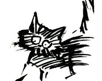 Original Black Cat Gouache Painting ACEO number 166