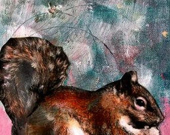 Painting  squirrel  mixed media acrylic on canvas Heather Murray
