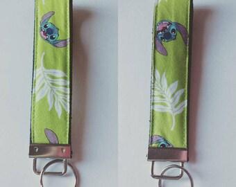 Tropical Stitch on Lime Green - Key Fob Wristlet