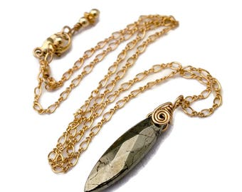 Simple Pyrite Necklace, Faceted Marquise Gemstone, Wire Wrapped Pendant, Gold Filled Chain, Spiral, Boho Necklace, Free Shipping