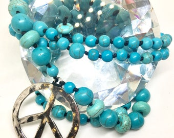 Beaded Peace Sign Turquoise Necklace - Hammered Silver Coated Brass Pendant & Hand Beaded Pearl Knotted Gemstone Jewelry