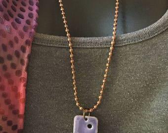 Purple Copper Enamel Pendant with Penny Dangle Vintage Copper Chain