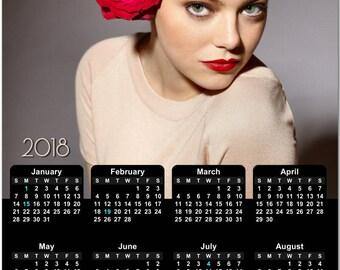 Emma Stone 2018 Full Year View Calendar - Magnet, Print, Poster  #3841