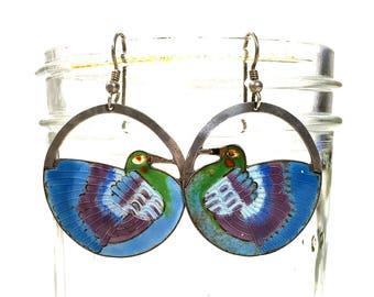 Vintage Early Laurel Burch Enamel Bird Earrings 1970s Sterling Silver Cloisonne Figural Bird Dangle Earrings Chinese Export For Pierced Ears