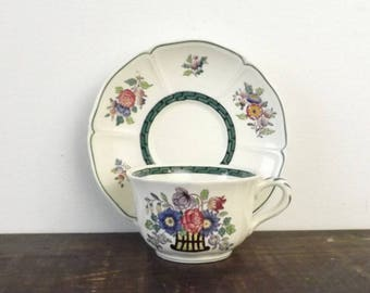 "1922 Wedgwood Etruria Cup & Saucer, ""Floral"" Pattern, Wedding Table Display, Collectible Teacup"