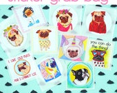 Pug Stickers, Cute Dog Stickers, Pug Lover Gift, Pug Stuff, Pug Stationary, Hipster Stickers, Cool Stickers, Dog Lover Gift, Animal Stickers